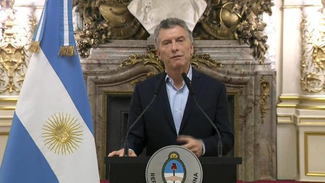 El presidente argentino, Mauricio Macri, durante una alocución en Buenos Aires.
