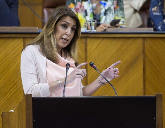 La presidenta de la Junta, Susana Díaz, en la tribuna del Parlamento andaluz.