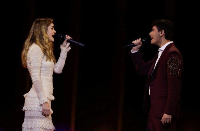Amaia y Alfred durante uno de los ensayos de Eurovisión