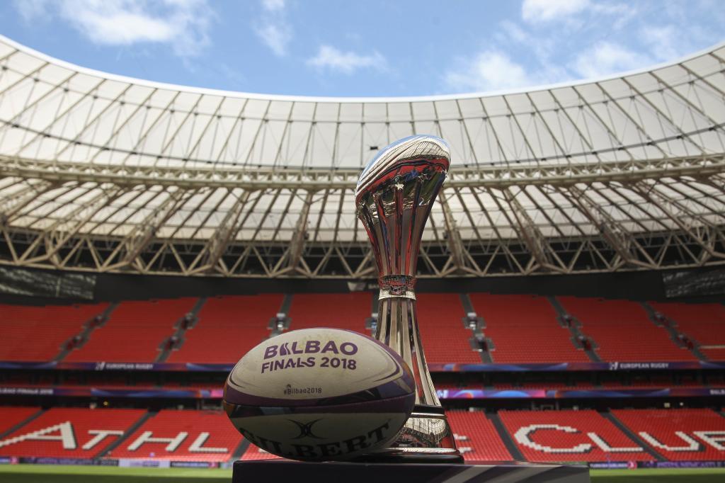 El trofeo de la Challenge Cup que se celebra en Bilbao.