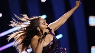 Jessica Mauboy, en uno de los ensayos de Eurovisión 2018, en Altice...