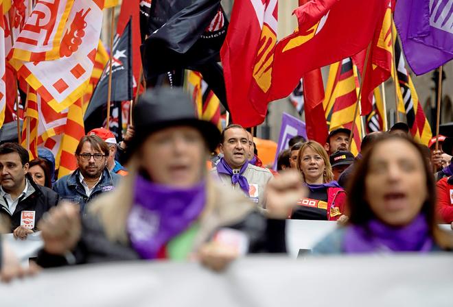 Manifestación del 1 de Mayo en Cataluña con UGT y CCOO