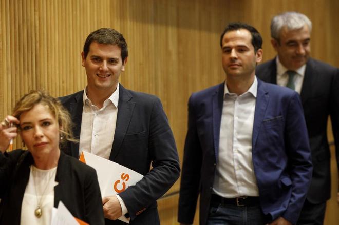 Marta Martín, Albert Rivera, Ignacio Aguado y Luis Garicano, en el Congreso.
