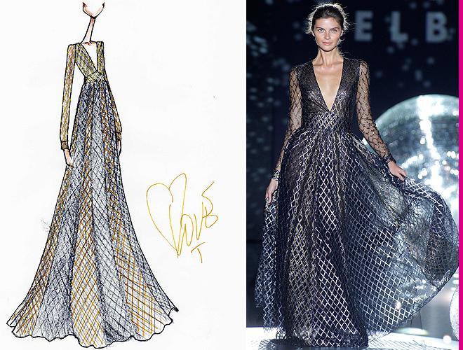 f9d63e2937 El vestido que llevará Amaia en Eurovisión es un diseño largo de escote en  V y espalda semi descubierta de tul y rombos dorados.