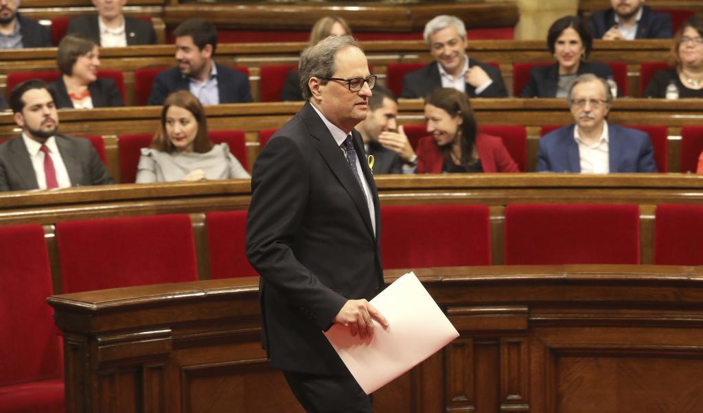 Quim Torra en el pleno de investidura en el Parlament