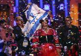 La cantante israelí, Netta Barzilai, celebra su triunfo en...