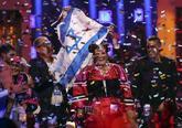 La cantante israelí Netta celebra su victoria en Eurovisión.