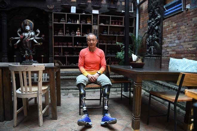 Xia Boyu antes de otro intento de escalar la montaña en abril pasado.