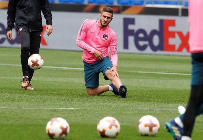 Koke Resurección, durante el entrenamiento del Atlético de Madrid en Lyon.