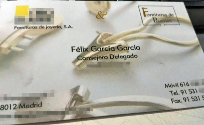 56837dcdc4b1 Tarjeta de presentación que dejaba Félix García a sus clientes
