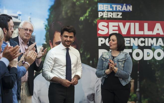 Beltrán Pérez, en la presentación de la campaña del PP a la Alcaldía de Sevilla.