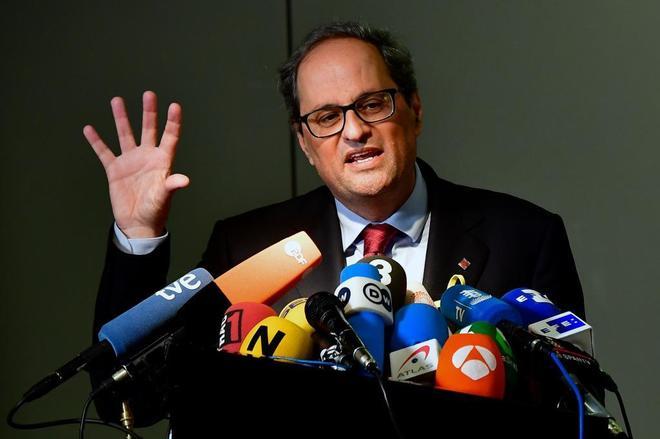 El presidente de la Generalitat, Quim Torra, durante su rueda de...
