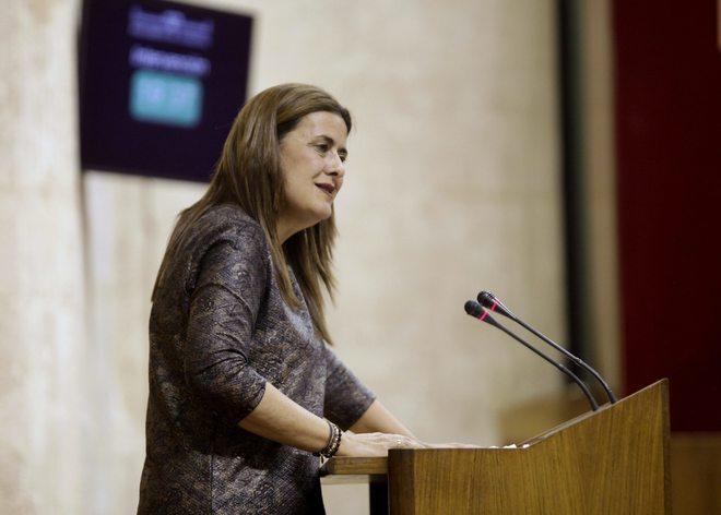La consejera de Educación, Sonia Gaya, en el Parlamento andaluz.