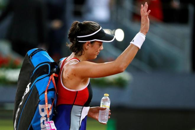 La tenista Garbiñe Muguruza tras caer derrotada en el partido de tercera ronda en Roma