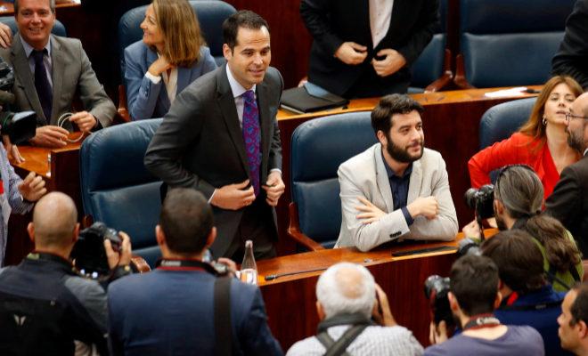 El portavoz de Ciudadanos, Ignacio Aguado, en el Pleno de investidura de Ángel Garrido.