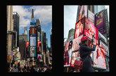 En la confluencia de Broadway y la Séptima Avenida, entre las calles...