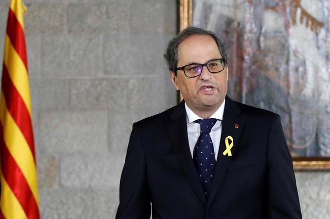 El presidente de la Generalitat, Quim Torra, durante su acto de...