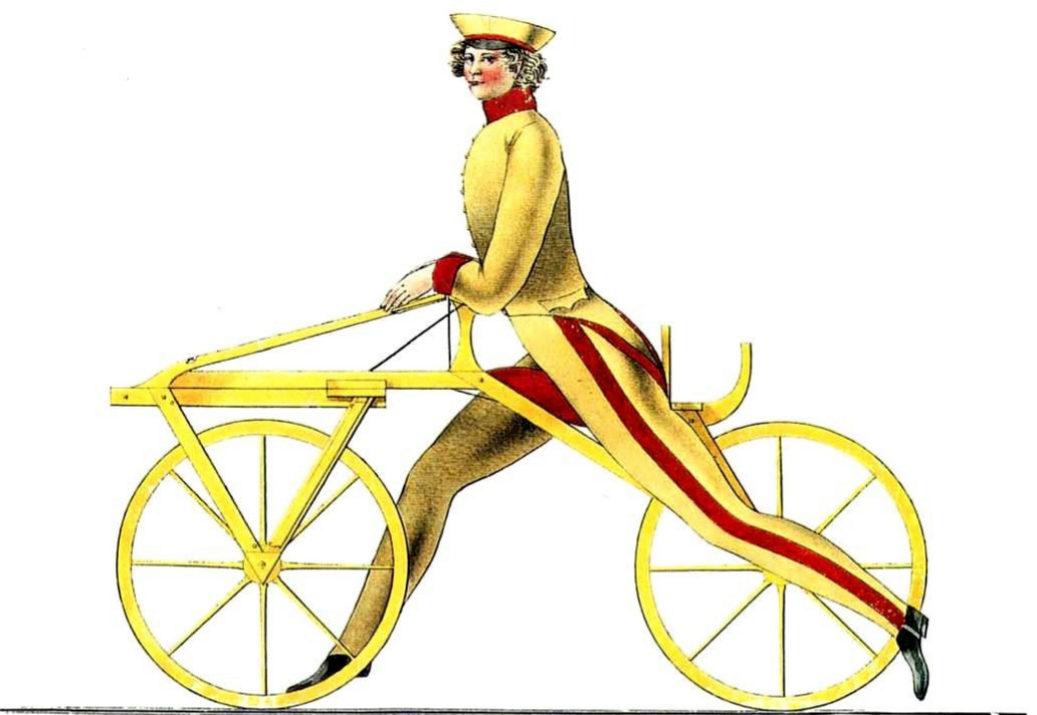 La primera bicicleta que se puso a la venta, patentada en 1818, fue un invento del barón Karl Von Drais