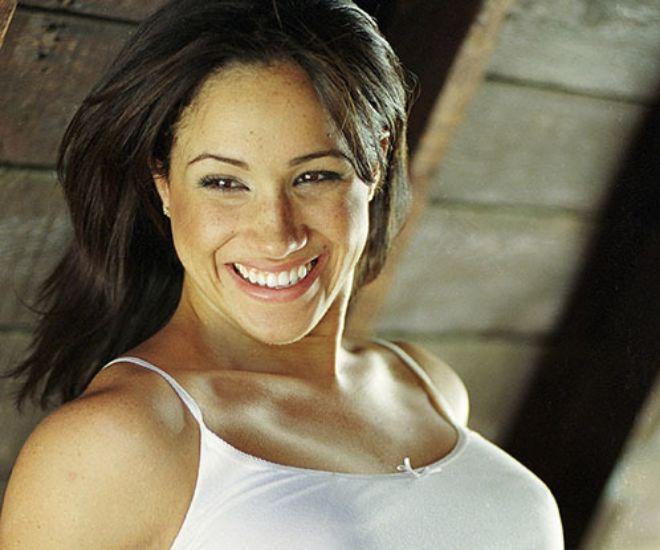 Meghan Markle durante una sesión de fotos como actriz