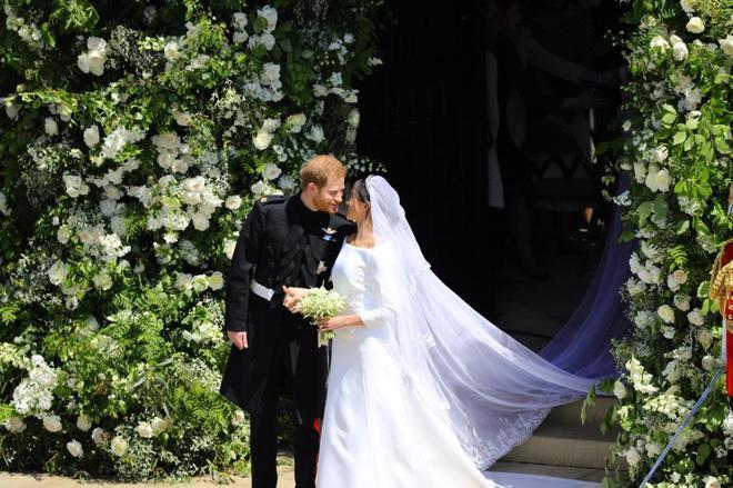 Los recién casados el príncipe Harry y  Meghan Markle, en Windsor , en Reino Unido.