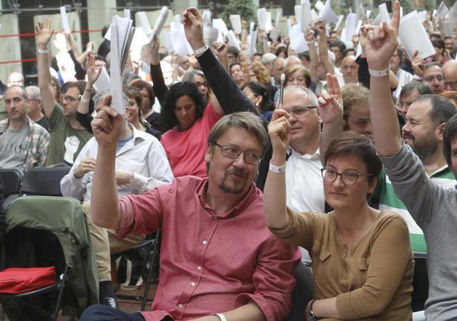 Xavier Doménech en una asamblea de Catalunya en Comú en Barcelona