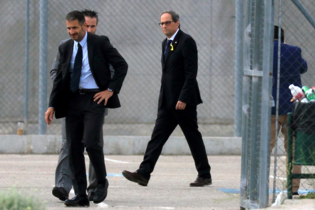 Quim Torra, el lunes tras salir de la prisión de Estremera.