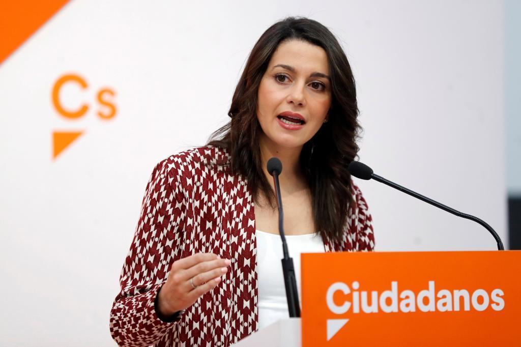 La portavoz nacional de Ciudadanos, Inés Arrimadas, en la rueda de prensa celebrada este lunes en Madrid.