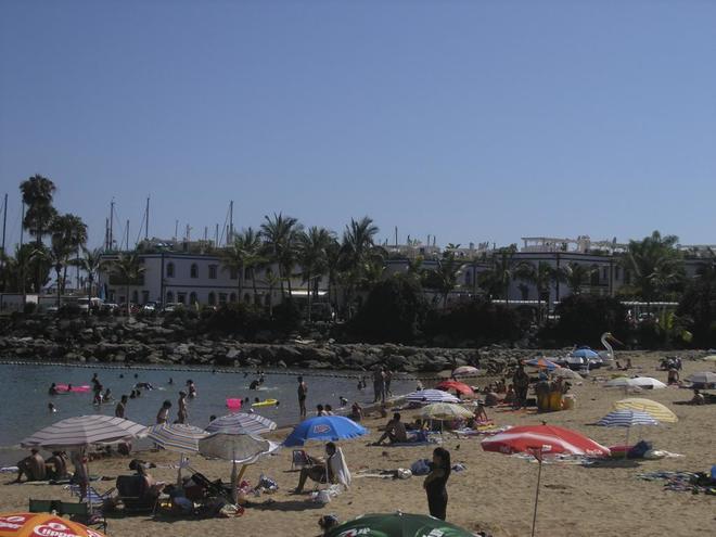 Panorámica de la Playa de Mogán en el sur de Gran Canaria
