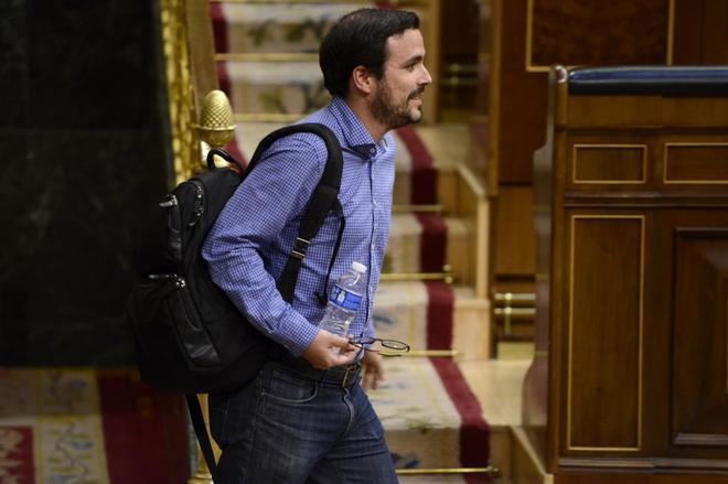 Alberto Garzón, a su llegada al Congreso de los Diputados.
