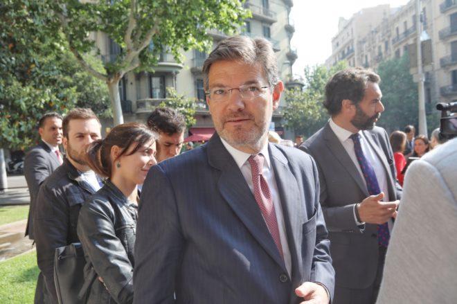 El ministro de Justicia, Rafael Catalá, en el Colegio de Abogados de Barcelona.