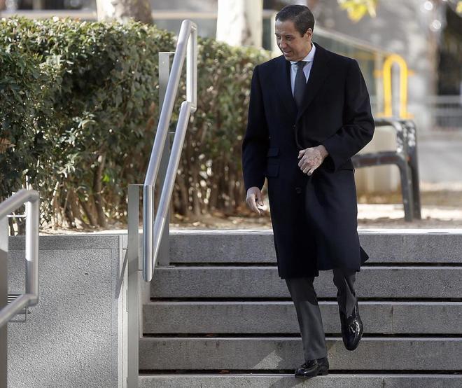 Eduardo Zaplana en la Audiencia Nacional el pasado diciembre por el juicio de la 'caja B' del PP.