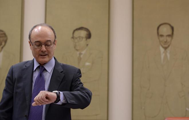 El gobernador del Banco de España, Luis María Lindes, durante una comparecencia en el Congreso.
