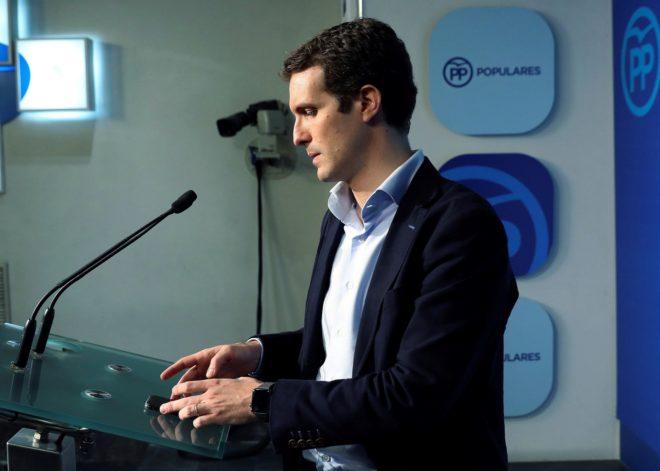 El vicesecretario de comunicación del PP, Pablo Casado, durante una comparecencia ante los medios.