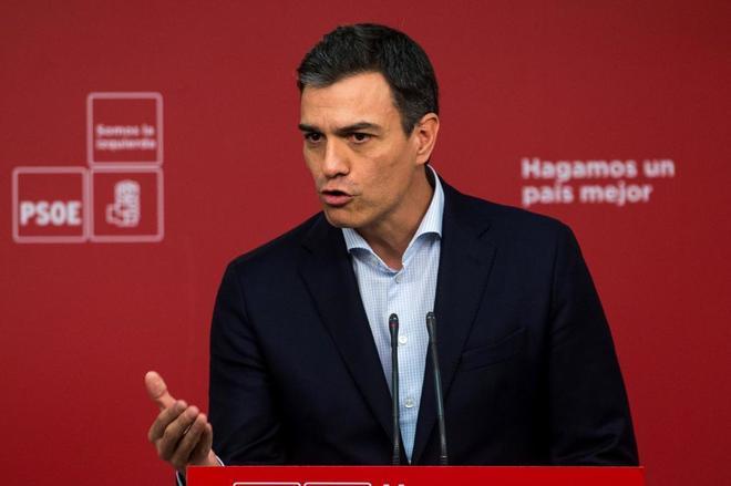 Pedro Sánchez, el lunes, en una comparecencia en la sede del PSOE en...