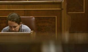 Pablo Iglesias, hoy, en el Pleno de Presupuestos del Congreso de los...