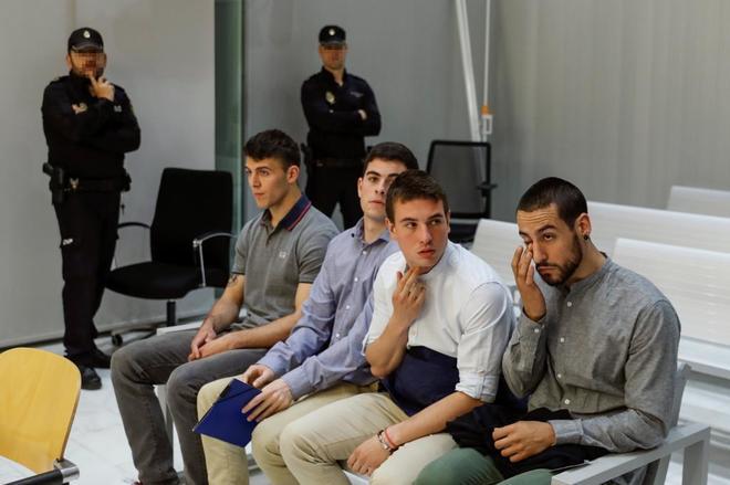 Los cuatro acusados, durante el juicio en la Audiencia Nacional.