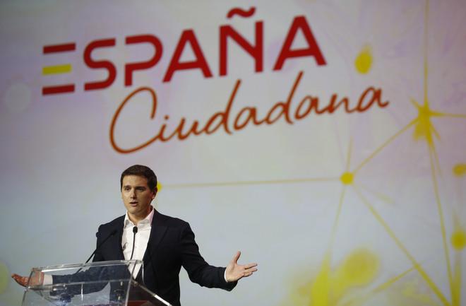 El líder de Ciudadanos, Albert Rivera, durante la presentación de la...