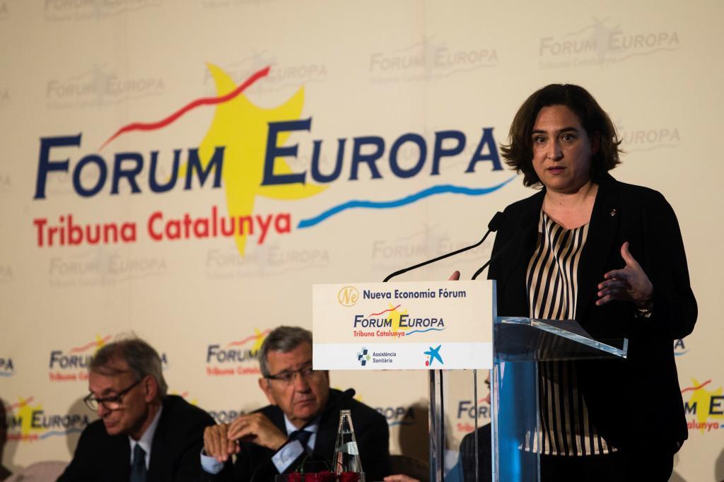 Ada colau en la conferencia Forum Europa esta mañana