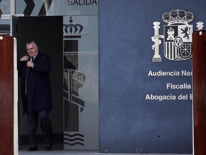 Luis Bárcenas sale de declarar en el caso Gürtel el pasado febrero.
