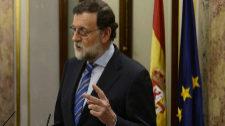 Mariano Rajoy, ayer, en el Congreso de los Diputados tras la...