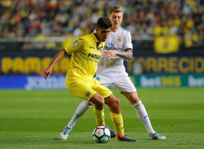 Rodri, durante el encuentro que el Villarreal jugó contra el Real Madrid.
