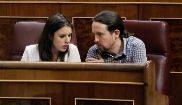 Irene Montero y  Pablo Iglesias, en el Congreso de los Diputados