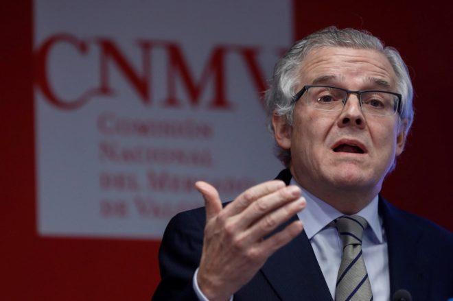 El presidente de la CNMV, Sebastián Albella, durante la presentación de la encuesta