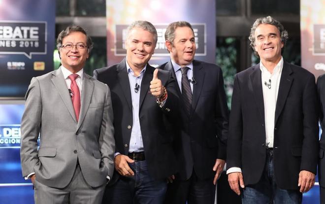 De izquierda a derecha, Gustavo Petro, Iván Duque, Germán Vargas Lleras, y Sergio Fajardo.
