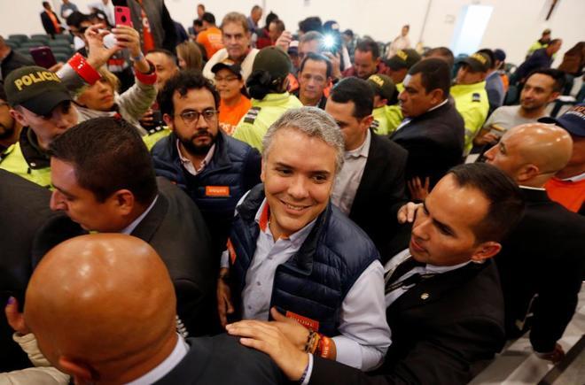 El candidato por Centro Democrático, Iván Duque, en un acto en Bogotá.