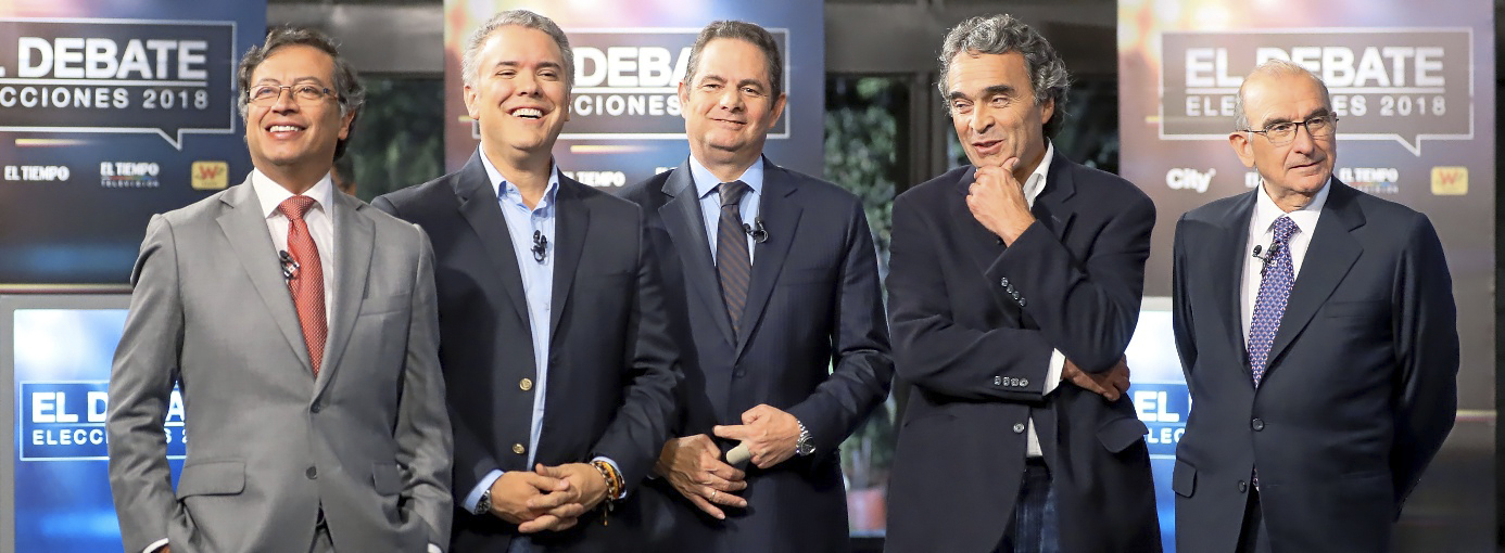 Los candidatos a la presidencia de Colombia (i-d) Gustavo Petro, Iván Duque, Germán Vargas Lleras, Sergio Fajardo y Humberto De La Calle.