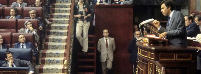 Felipe González defiende en el Congreso la moción contra Adolfo Suárez en mayo de 1980