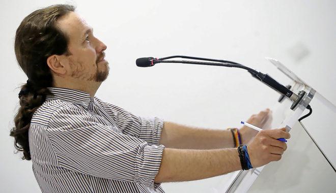 El secretario general de Podemos, Pablo Iglesias, valora la moción de censura del PSOE