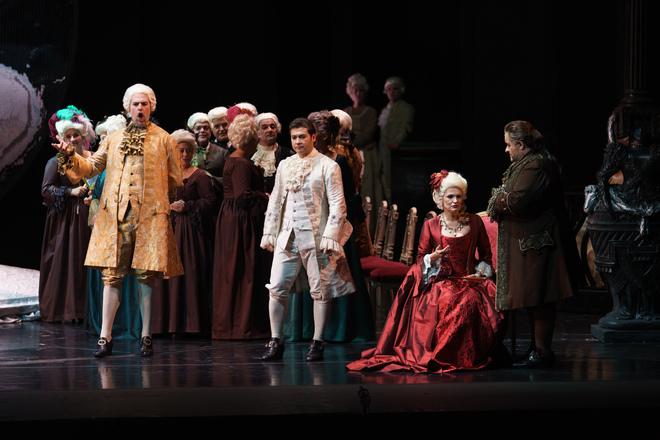 Los intérpretes, durante su actuación en el Teatro de La Maestranza.