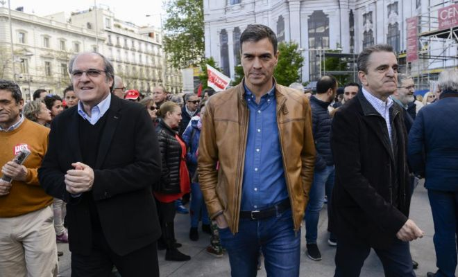 Ángel Gabilondo, Pedro Sánchez y José Manuel Franco.